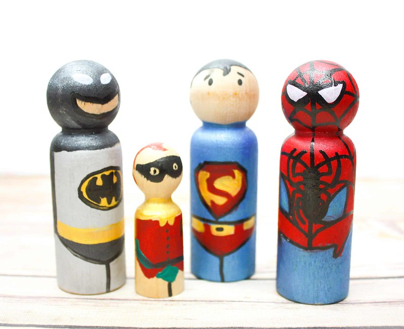 Superhero wooden pegs