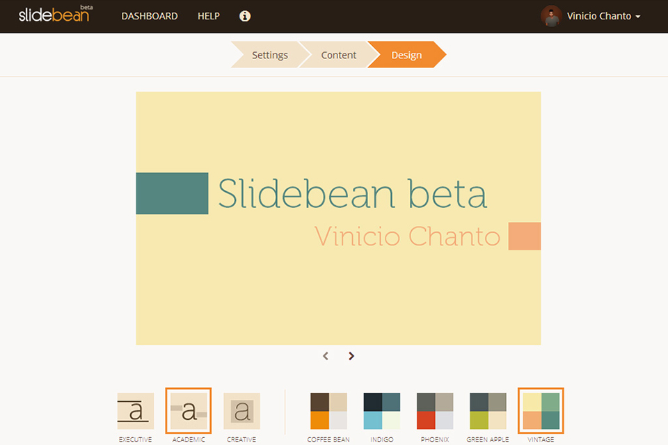 Screenshot of Slidebean Beta exactly one year ago.