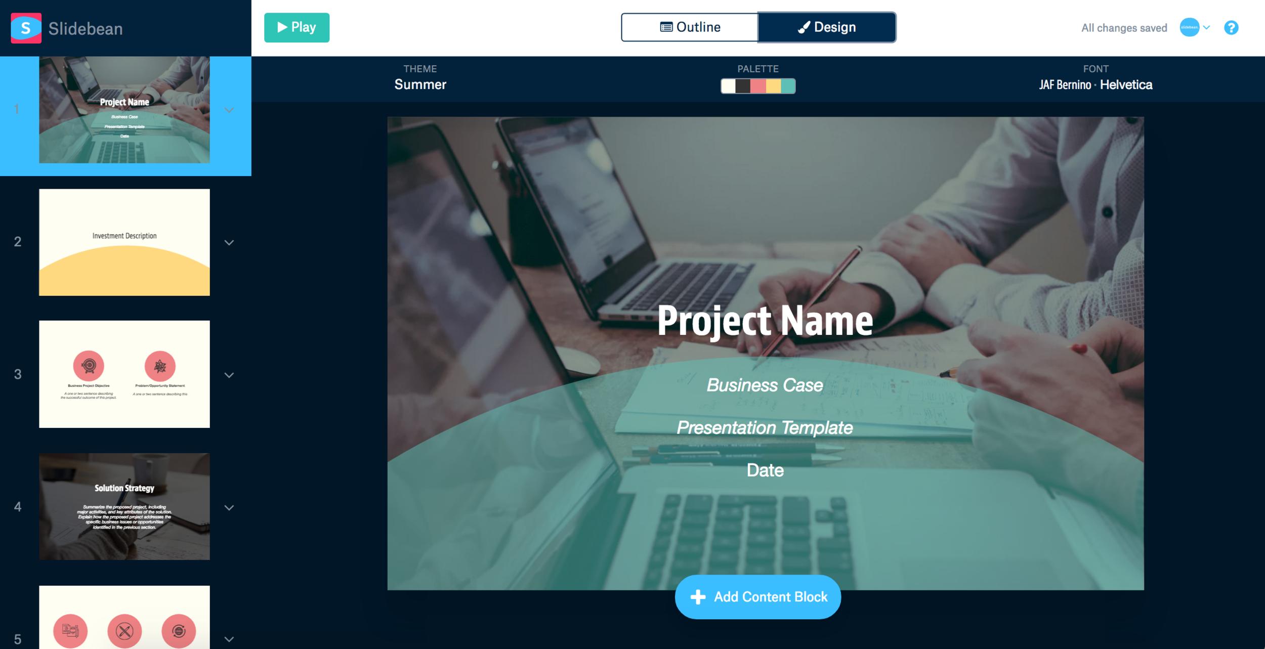best pitch deck software, slidebean presentation tool