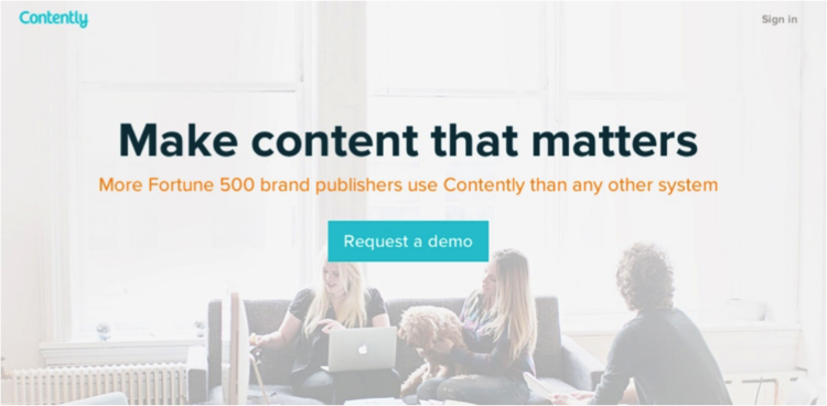 Contently's headline is specific, succinct, and includes their name