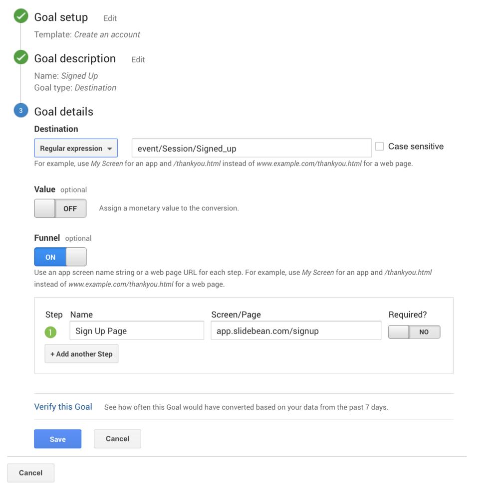 Google Analytics Goal definition