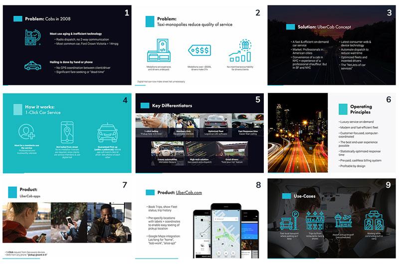 Uber pitch deck slides - presentation outline