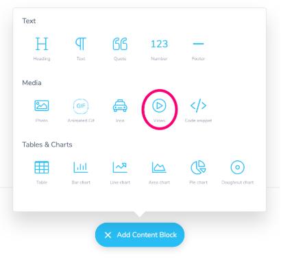 Screenshot of Slidebean add content block options