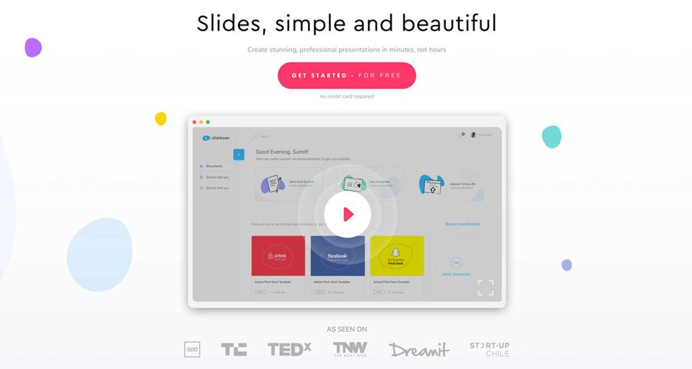 Slidebean presentation website, slides simpleand beautiful