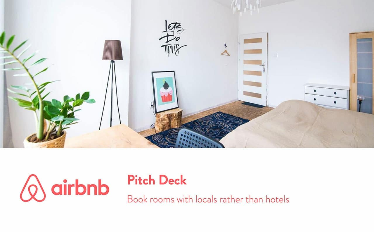 Ejemplos de pitch deck ejemplos, pitch deck de Airbnb.