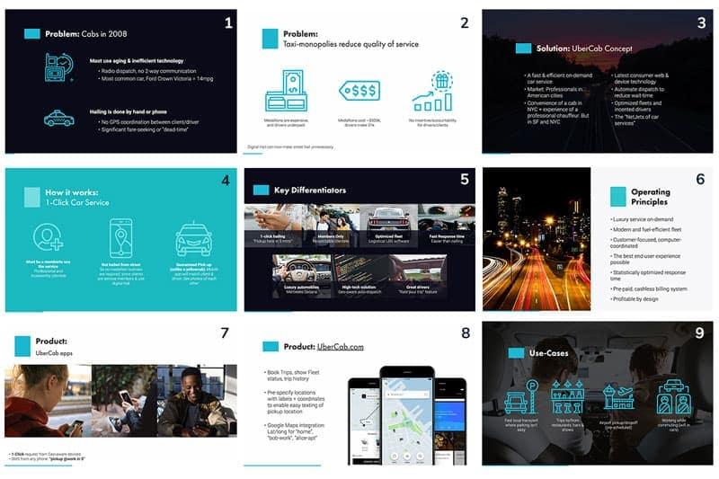Diapositivas de pitch deck de Uber