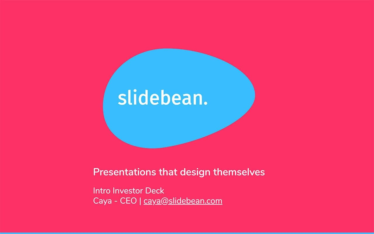 Ejemplos de pitch deck, pitch deck de Slidebean