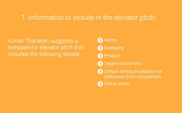elevator pitch examples, example slide