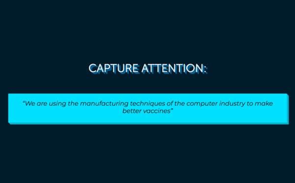diapositive d'pitch exemple d'ascenseur Capter l'attention avec une description
