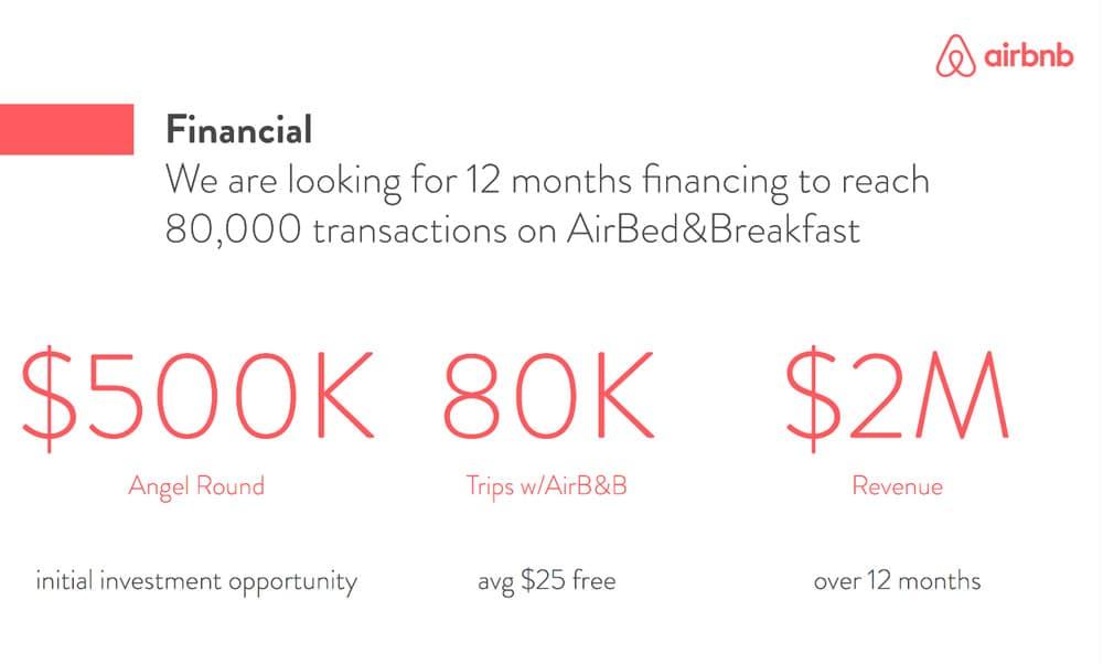 airbnb pitch deck financial slide