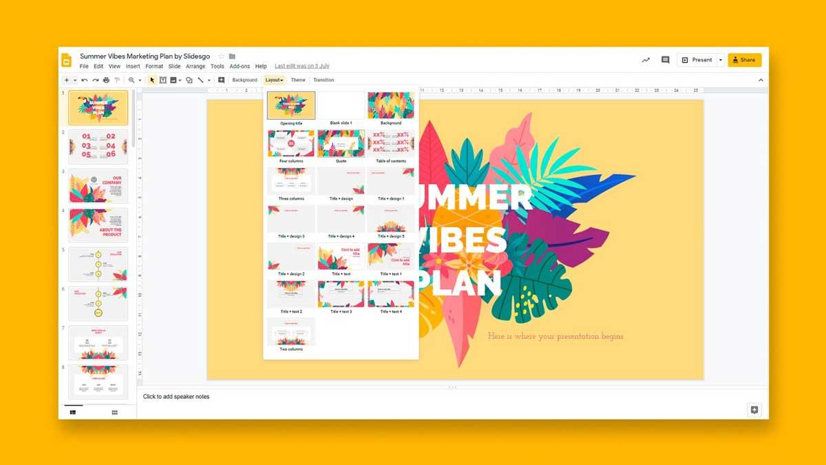 Editor de software de presentación de diapositivas de Google