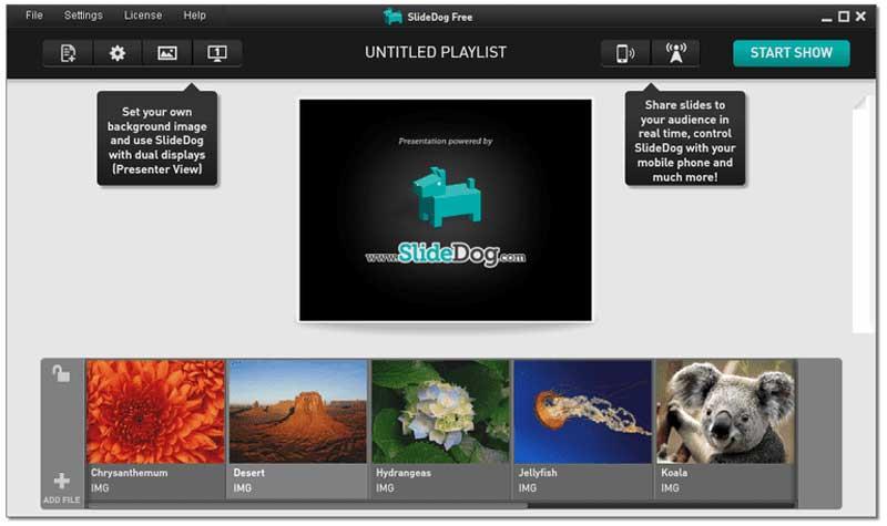 Editor de software de presentación de diapositivas de Slidedog