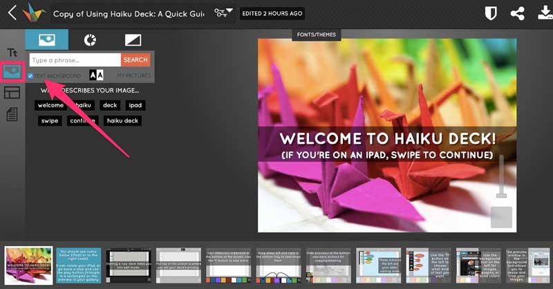 Editor del software de presentación Haiku
