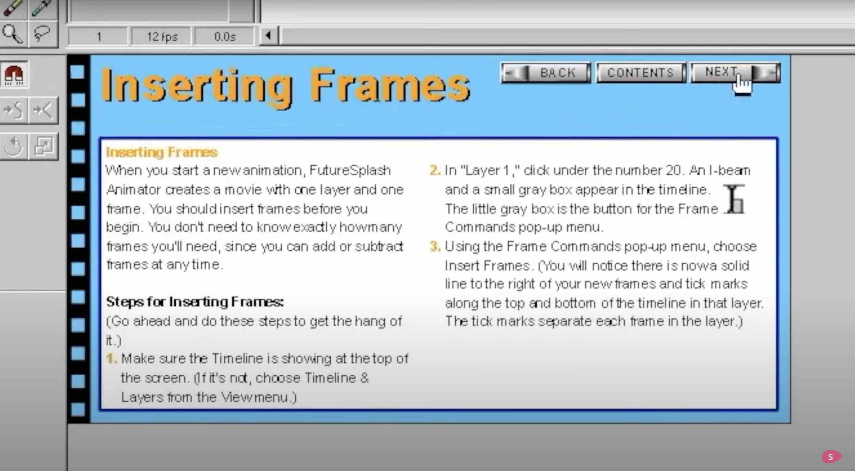 Did Apple Kill Flash? This image shows the basic instructions for inserting frames in the first Flash versions