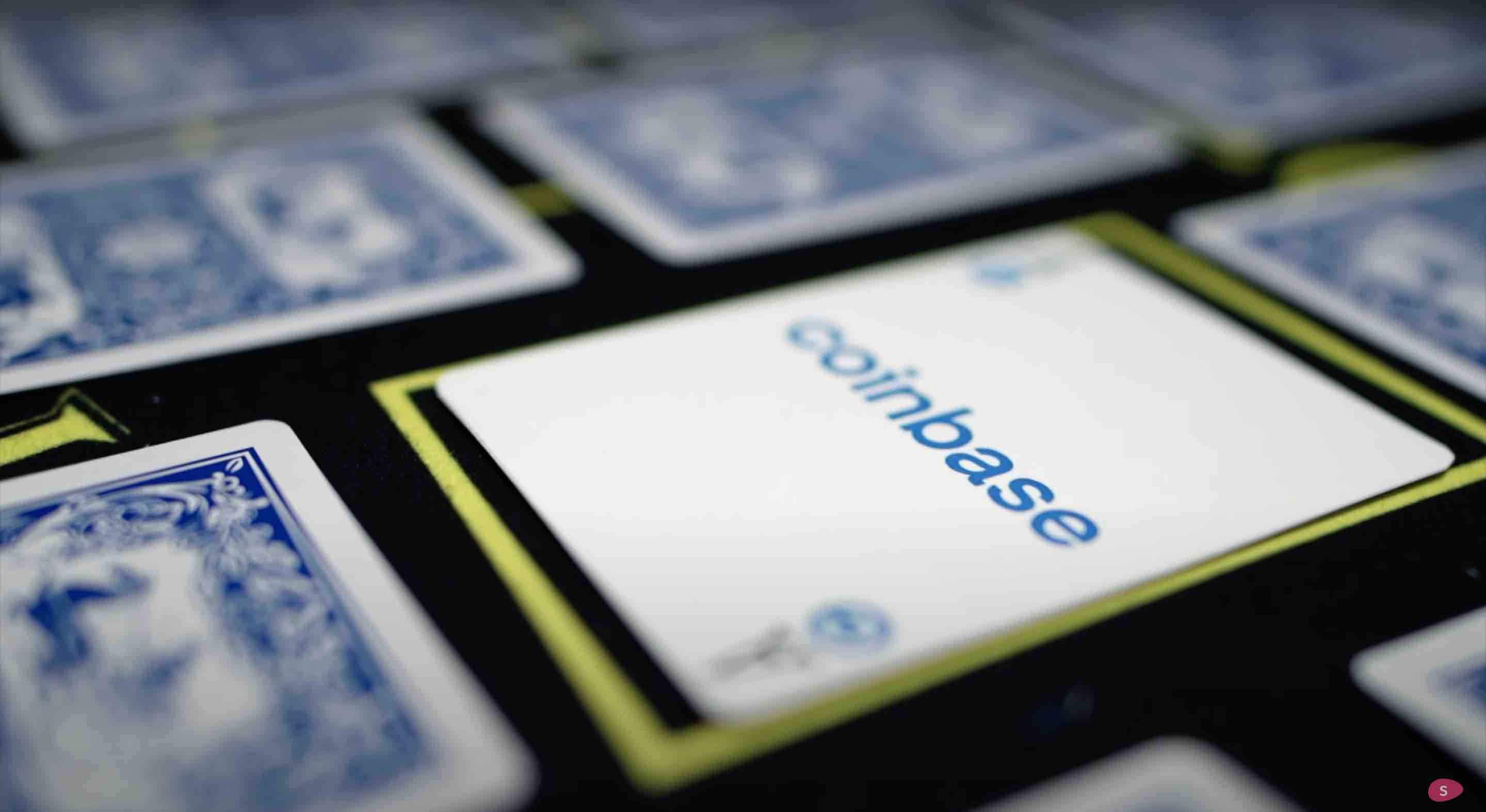 A playing card with coinbase written on it, similar to poker. This is how angel investors gamble.j