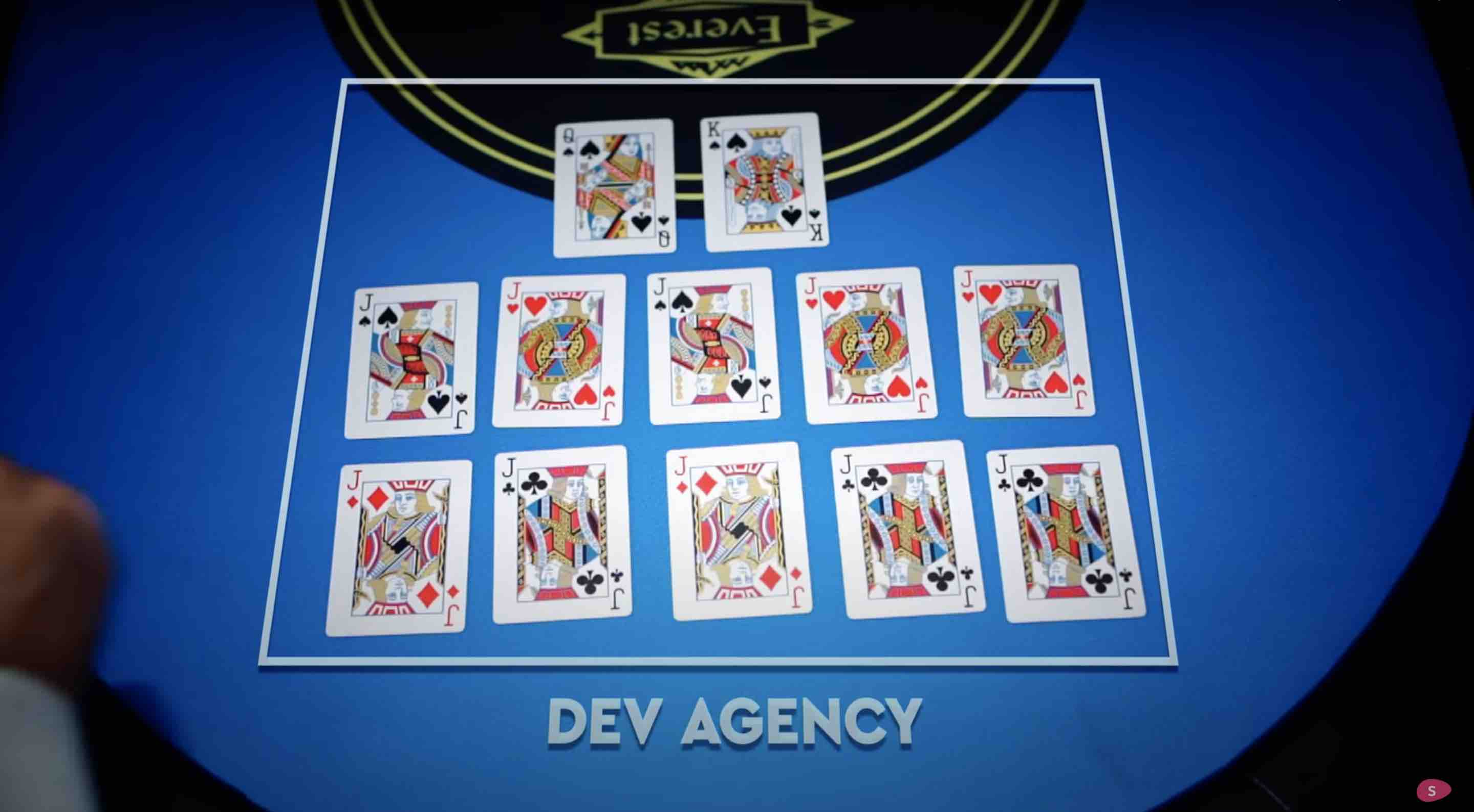 Cards on a blue table explaining how Angel Investors are gamblers