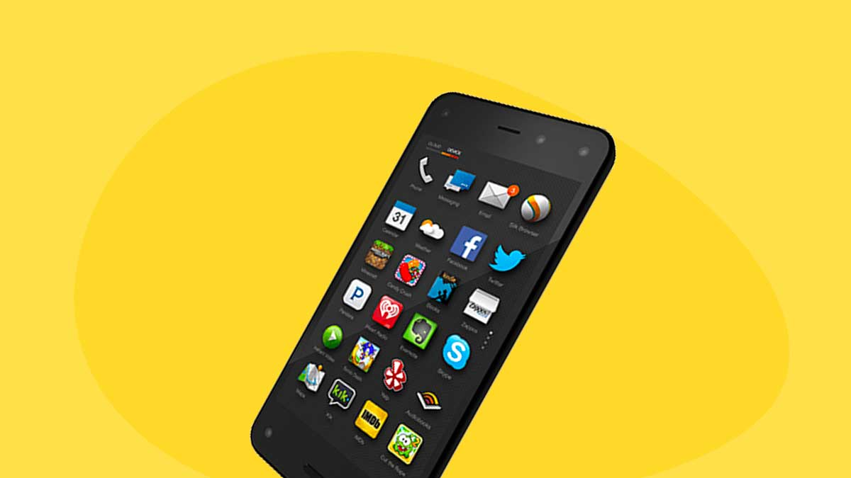 Amazon Fire: Jeff Bezos' failed phone - Image contains an Amazon Fire phone over a yellow background