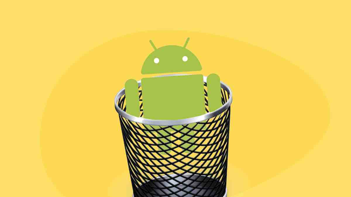 Android - Image contains an Android logo inside a trash can
