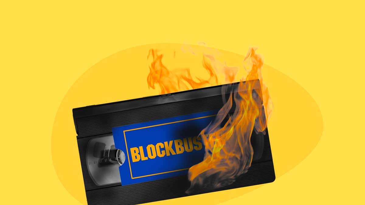 blockbuster story - image contains a VHS tape burning