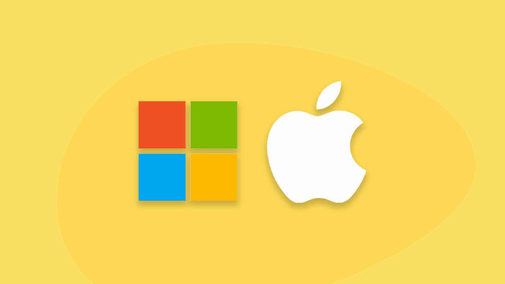 how microsoft saved apple - image contains microsoft and apple logos over a yellow background