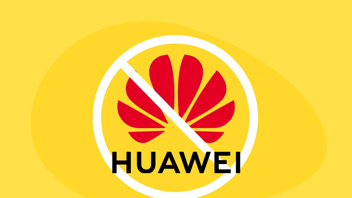 The Huawei Ban Explained - Image contains Huawei logo over a yellow background