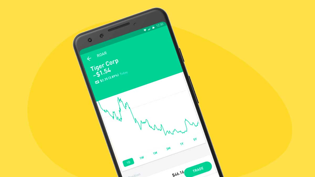 Robinhood - image displays a mobile phone over a yellow background