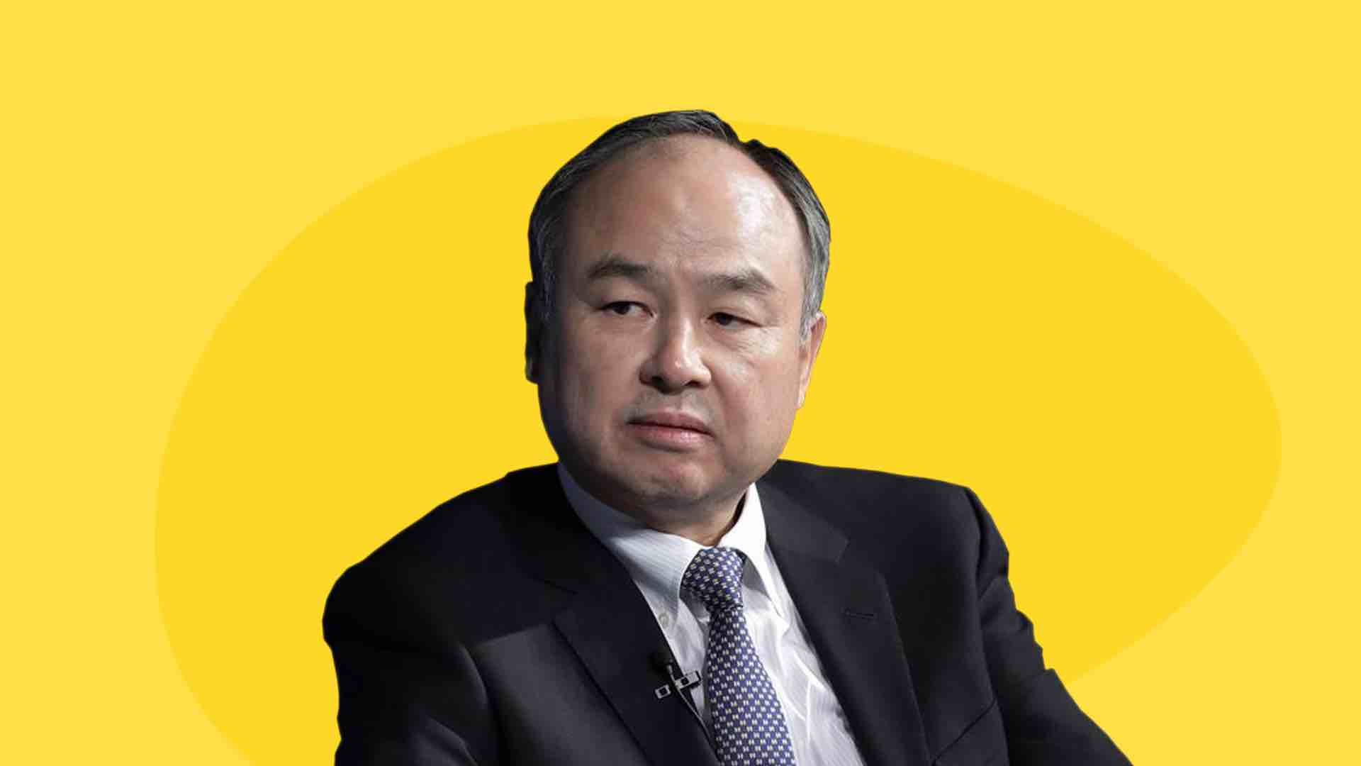 Softbank - Image contains Masayoshi Son from Softbank over a yellow background
