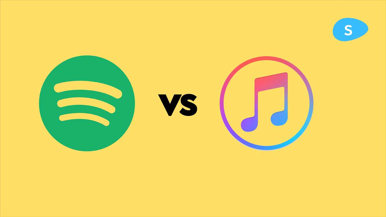 spotify - image contains spotify and apple logos over a yellow background