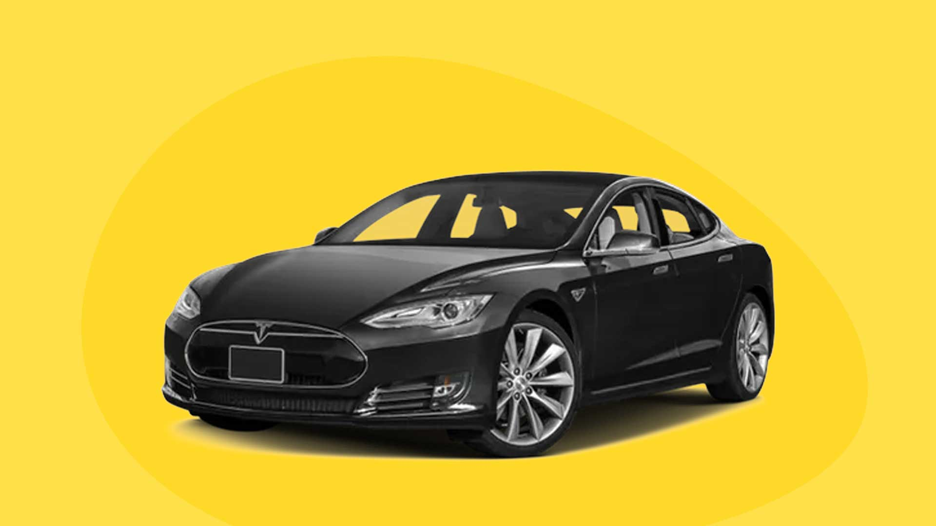 Tesla - image contains a Tesla black car over a yellow background