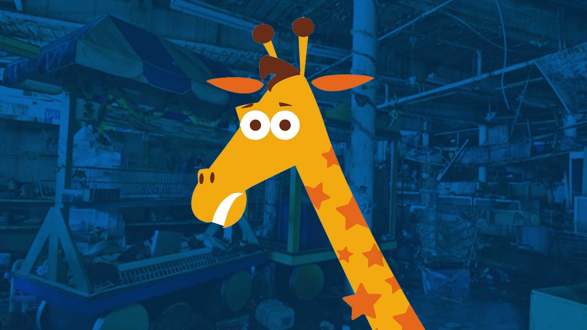 The Toys R Us Closing story - image contains a cartoon jiraffe over a blue background