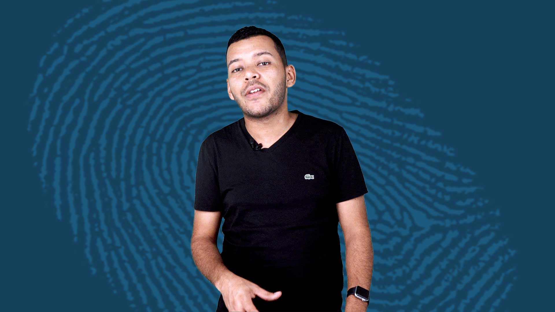myspace startup forensics - image contains show host caya in front of a blue background