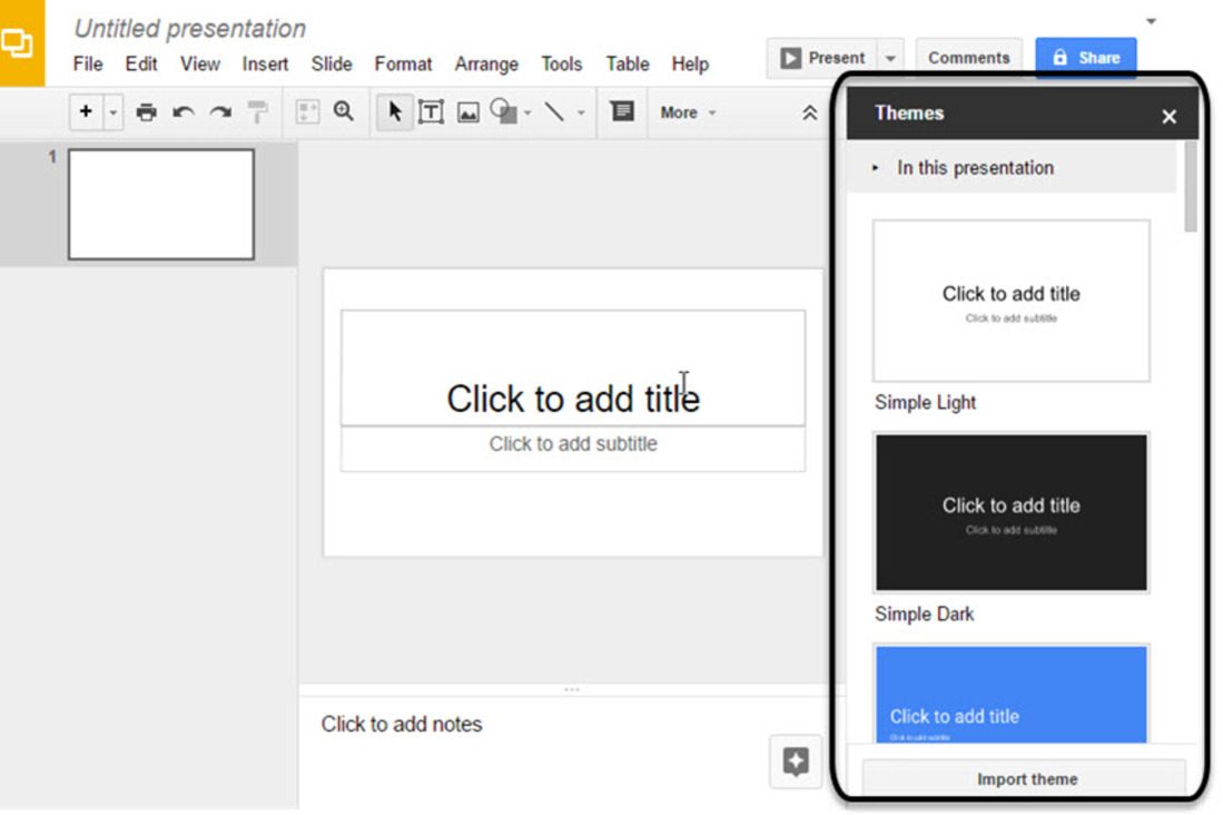 Image contains the main software Google Slides screen