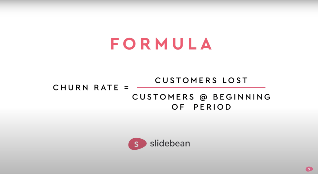 Image contains the churn rate formula