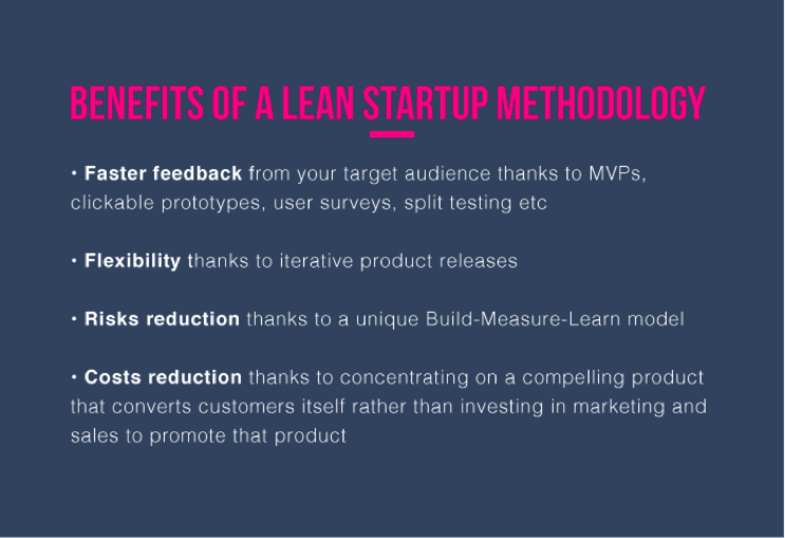 Image contains some benefits of a lean startup methodology