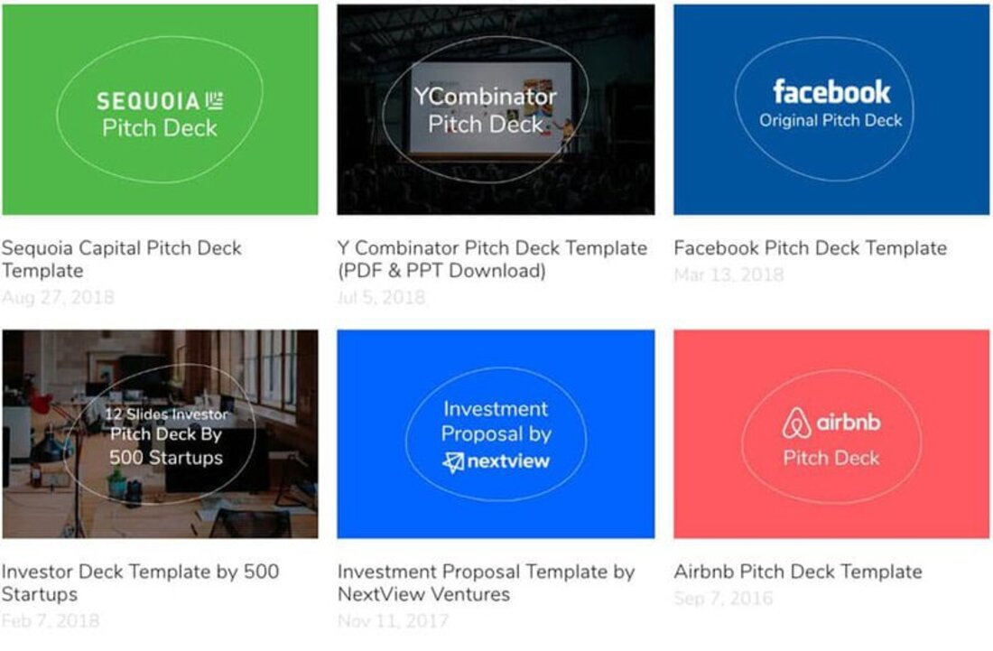 Image contains six pitch deck examples