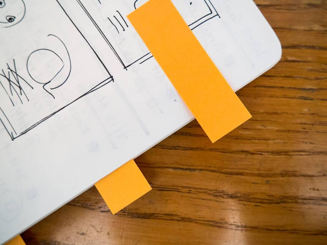 Image contains a sticky note on a notebook