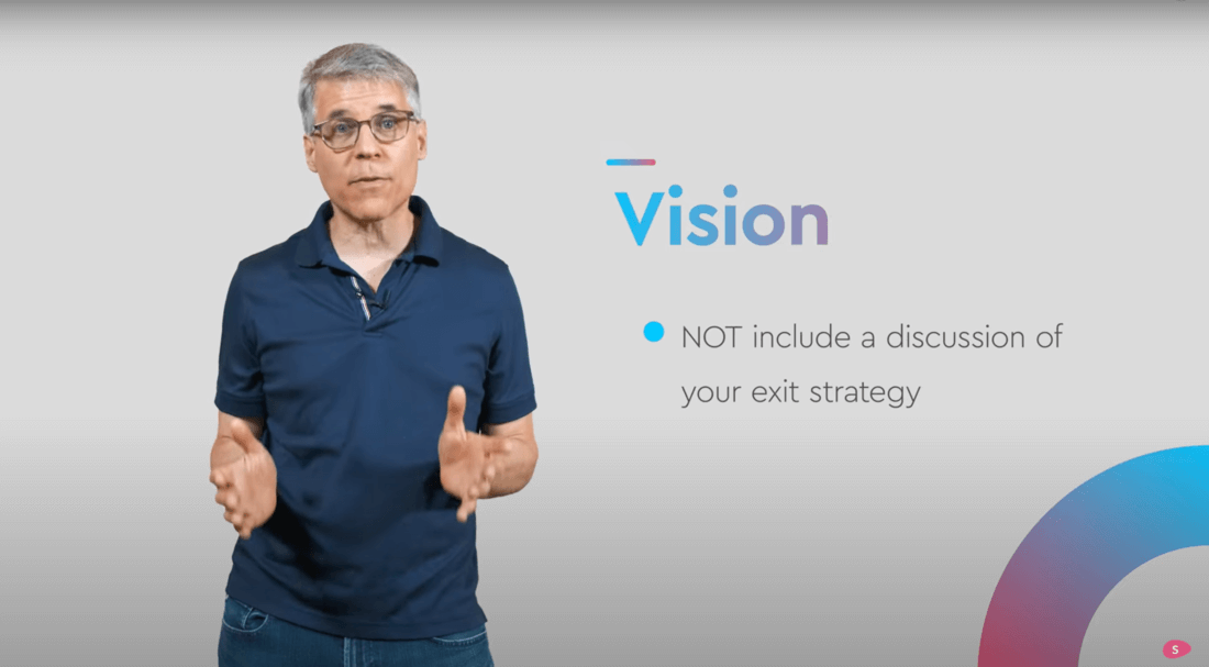 Image contains a person talking about the startup pitch deck vision
