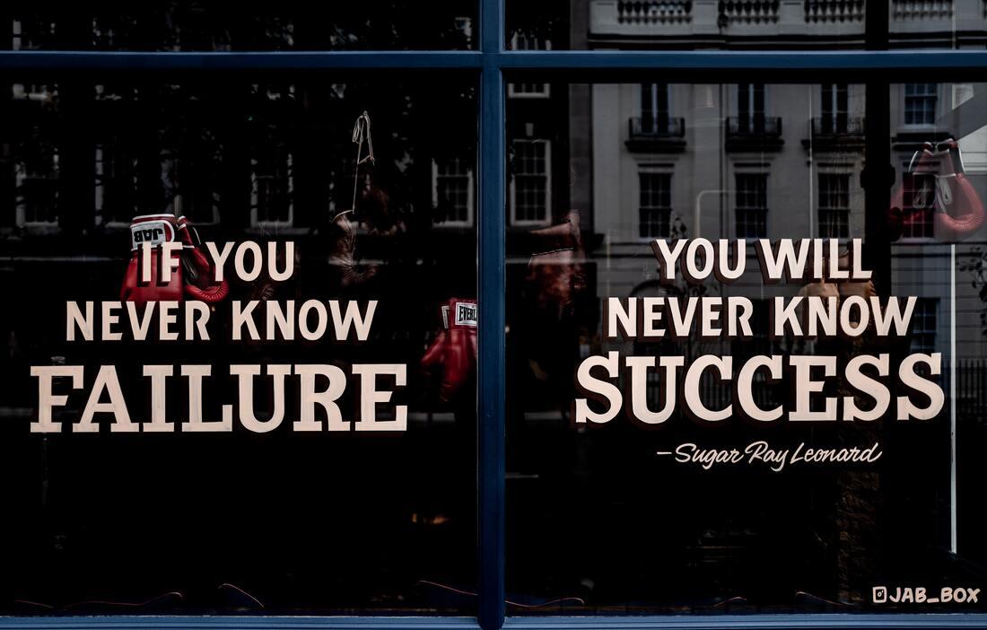"""L'image dit """"si tu ne connais jamais l'échec, tu ne connaîtras jamais le succès""""."""