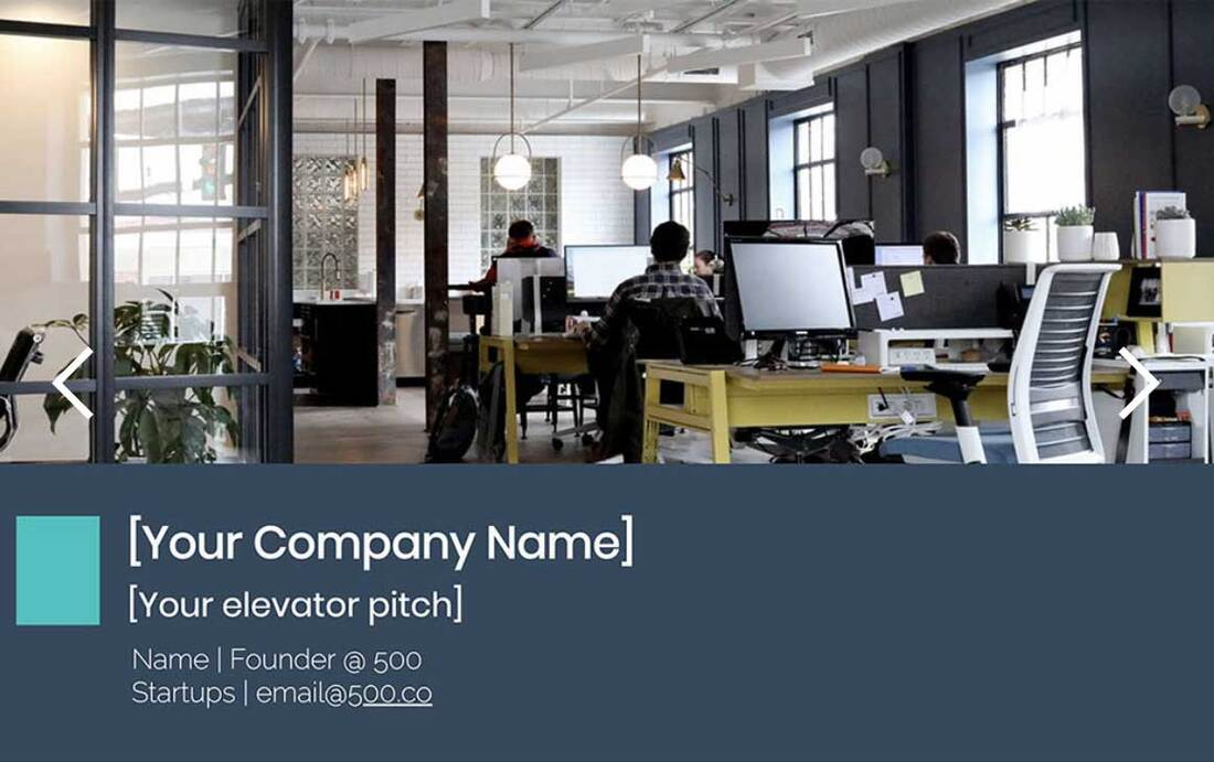 Image contains a startup pitch deck presentation template