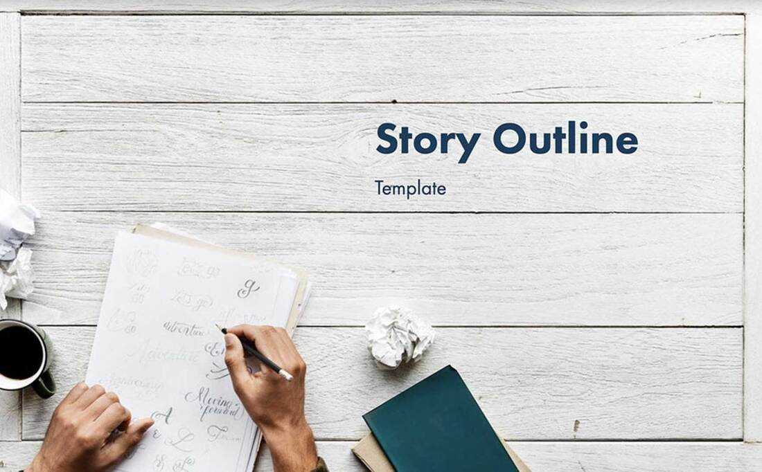 Image contains a story outline template