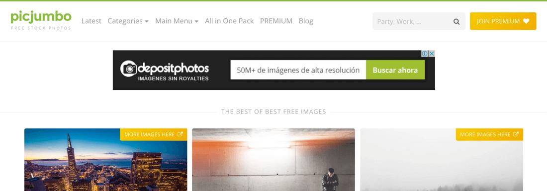 Image contains picjumbo website