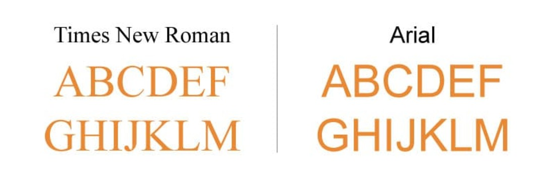 Image contains difference between times new roman and Arial