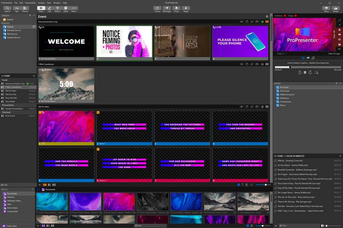 Image contains the propresenter software