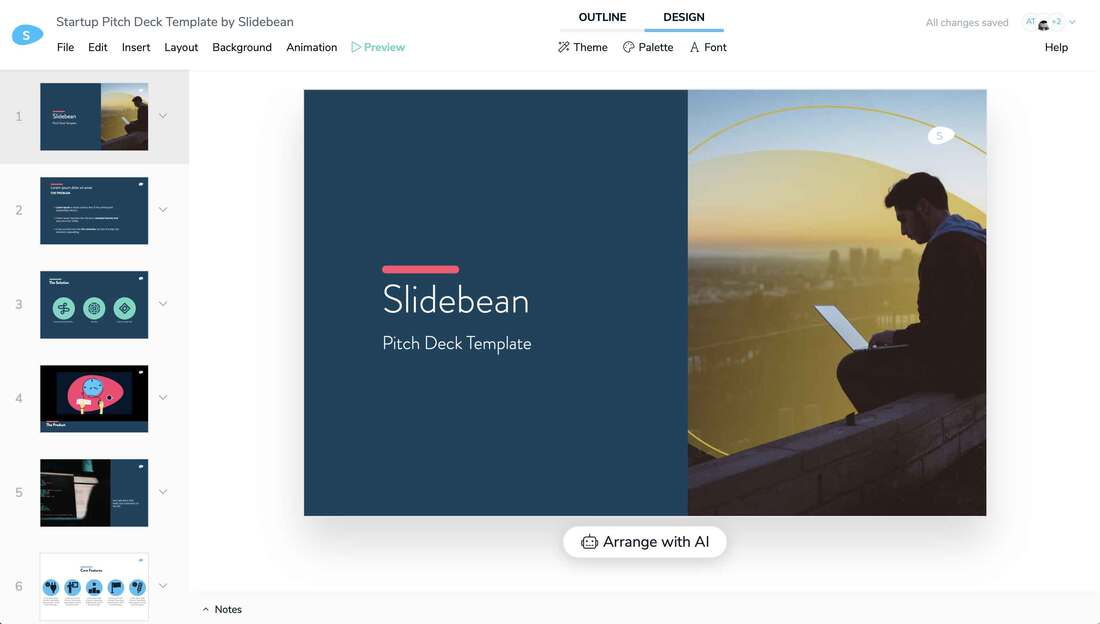 Image contains a startup pitch deck template by slidebean