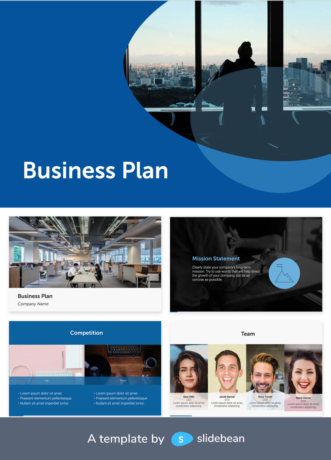 Image contains a business plan template