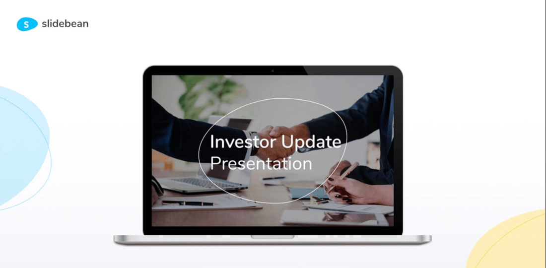 Image contains a computer displaying an investor update presentation template