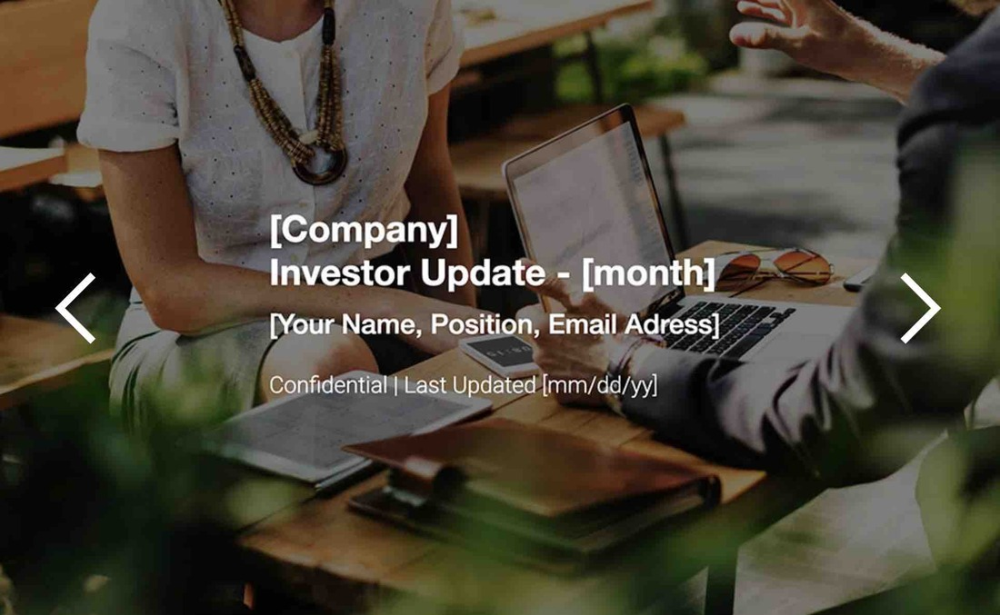 Image contains an investor update template