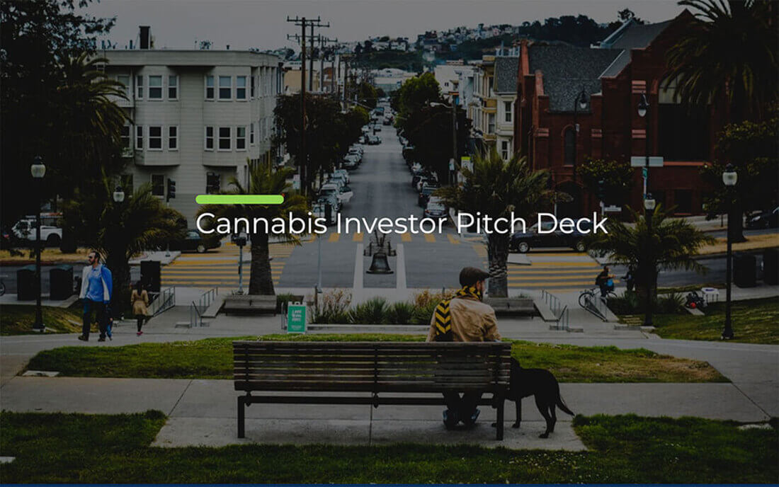 Image contains a cannabis investor pitch deck