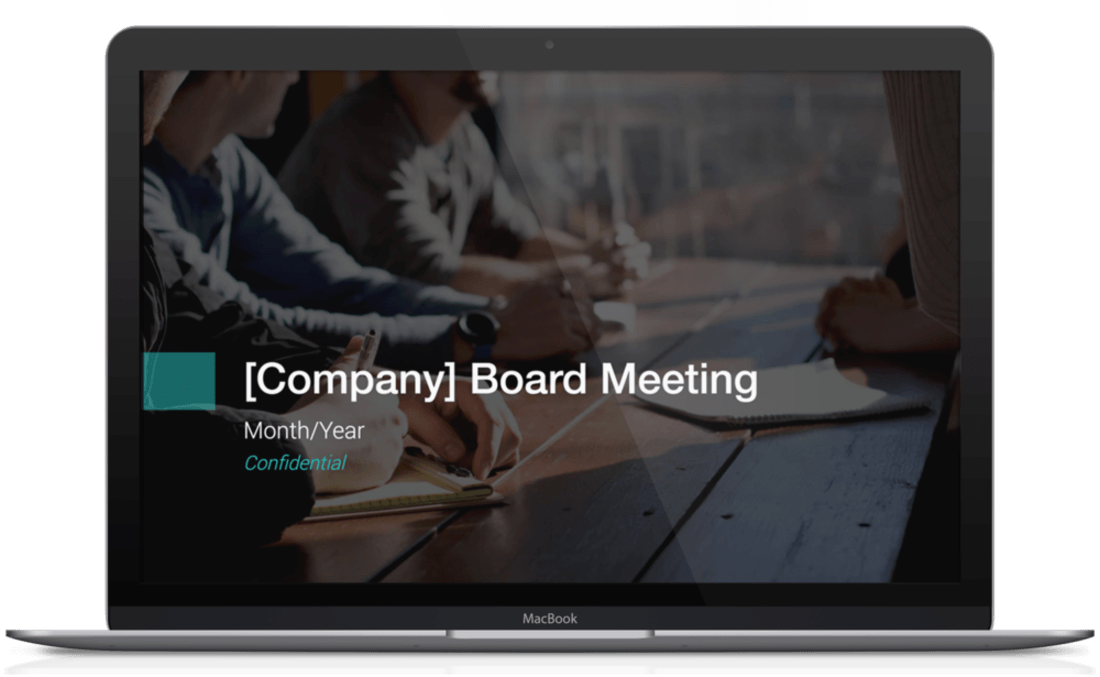image contains a board meeting template