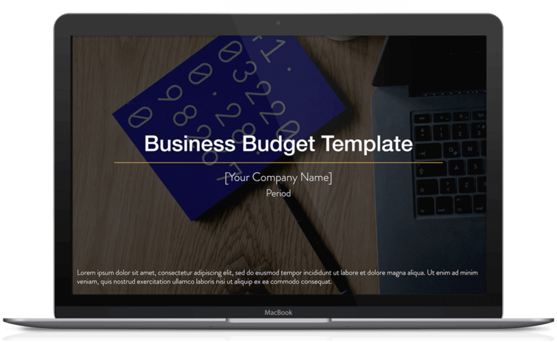 Image contains a business budget template